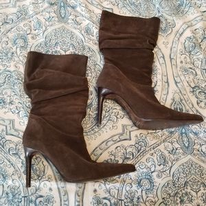 Brown Suede Heeled Boots